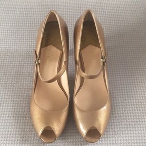 Cole Haan Gold Pump with Ankle Strap, Size 9.5